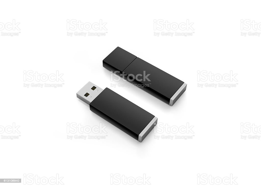 Blank black usb drive design mock up stock photo