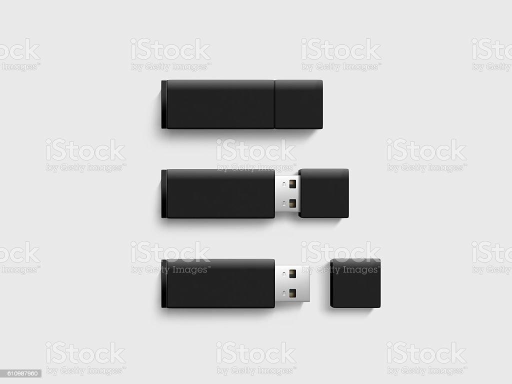 Blank black usb drive design mock up set, 3d rendering stock photo