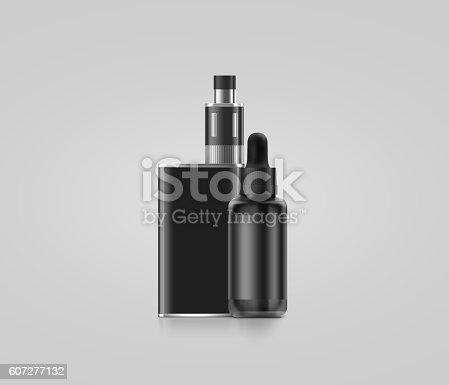 880947556 istock photo Blank black vape mod box with juice bottle mockup isolated, 607277132