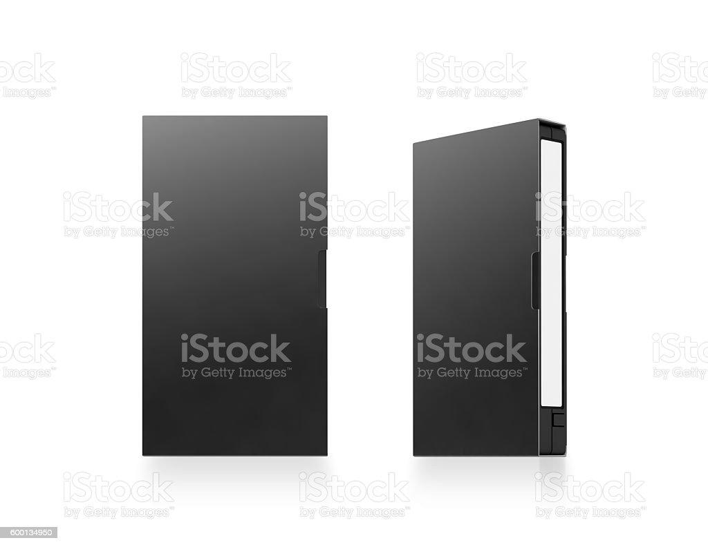 Blank black video cassette tape box mockup, isolated, 3d rendering stock photo