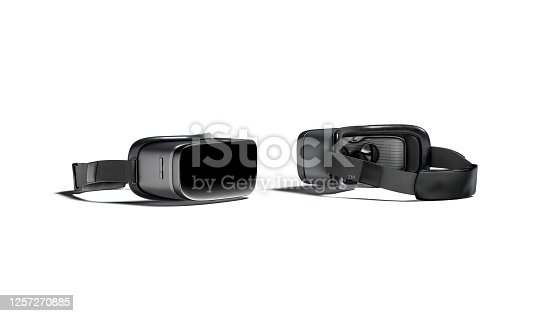 istock Blank black virtual reality goggles mockup, front and back side 1257270885