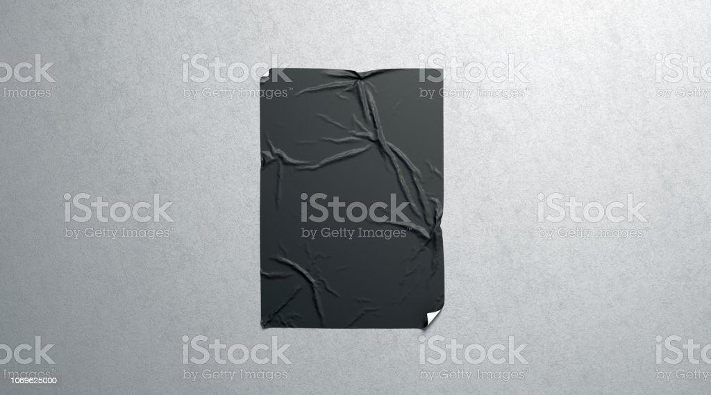 Leere schwarze Wheatpaste selbstklebende Poster Mock-up auf strukturierte Wand - Lizenzfrei A4-Papier Stock-Foto