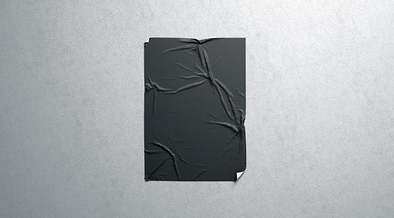 Leere Schwarze Wheatpaste Selbstklebende Poster Mockup Auf Strukturierte Wand Stockfoto und mehr Bilder von A4-Papier