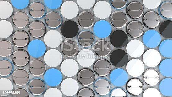 896667624 istock photo Blank black, white and blue badges on white background 896665364