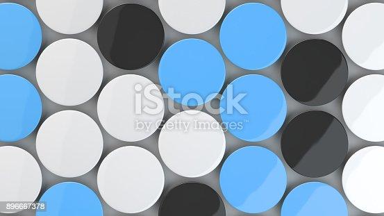 896667624 istock photo Blank black, white and blue badges on white background 896667378
