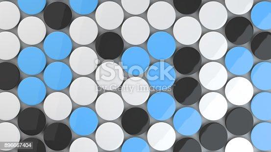 896667624 istock photo Blank black, white and blue badges on white background 896667404