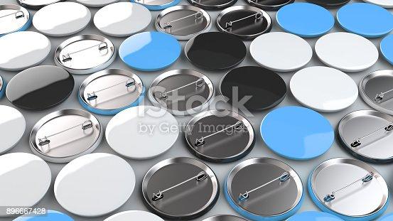 896667624 istock photo Blank black, white and blue badges on white background 896667428