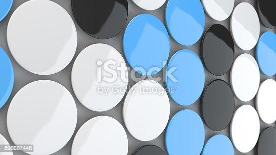 896667624 istock photo Blank black, white and blue badges on white background 896667448
