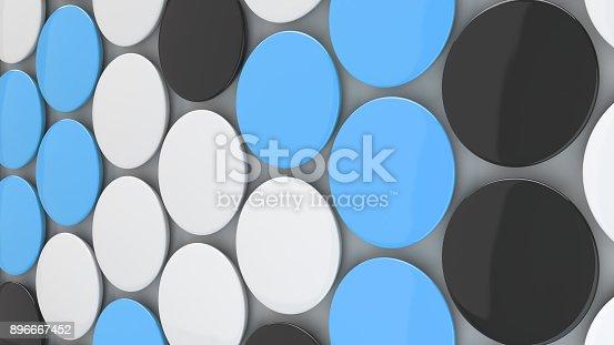 896667624 istock photo Blank black, white and blue badges on white background 896667452