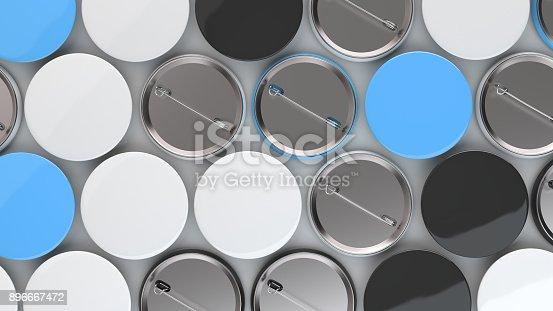 896667624 istock photo Blank black, white and blue badges on white background 896667472