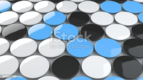896667624 istock photo Blank black, white and blue badges on white background 896667488