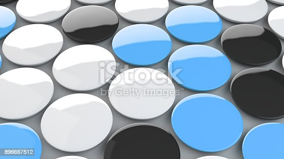 istock Blank black, white and blue badges on white background 896667512