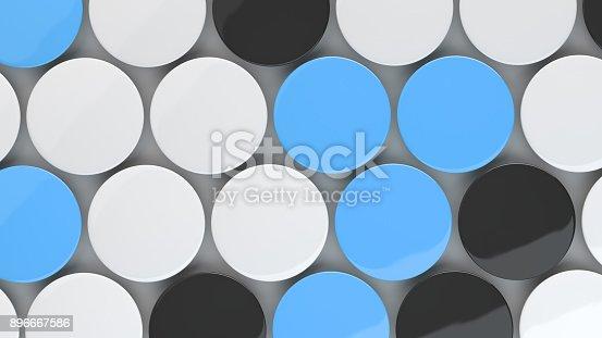 896667624 istock photo Blank black, white and blue badges on white background 896667586