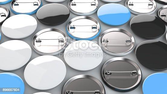 896667624 istock photo Blank black, white and blue badges on white background 896667604
