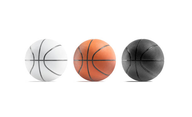 Blank black, white and brown basketball ball mockup, front view stock photo