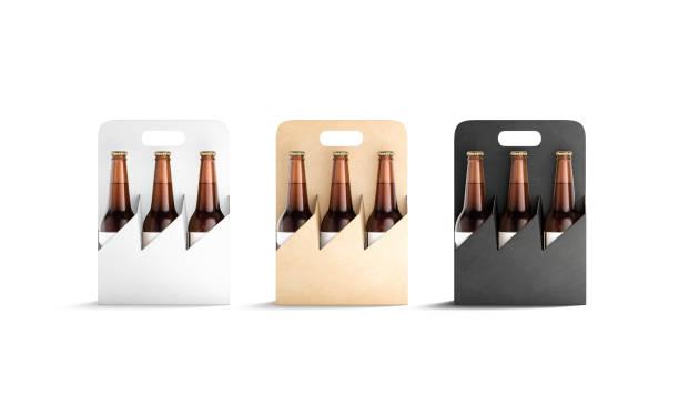 Blank black, white and craft cardboard holder for bottle mockup stock photo