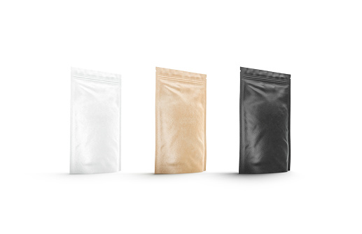 Blank black, white and craft doy pack mockup set, standing isolated, 3d rendering. Empty stand-up pouch mock up, side view. Clear flexible pak with zip for tea or coffee template.