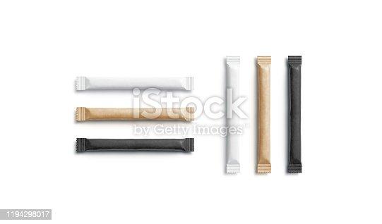 istock Blank black, white and craft sugar packet mockup, horizontal vertical 1194298017