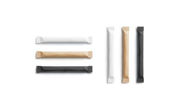 Blank black, white and craft sugar packet mockup, horizontal vertical stock photo
