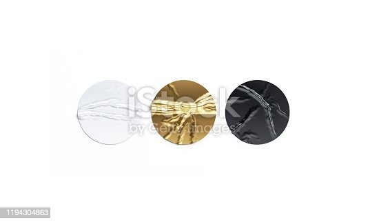 istock Blank black, white and gold crumpled sticker mockup set, isolated 1194304863