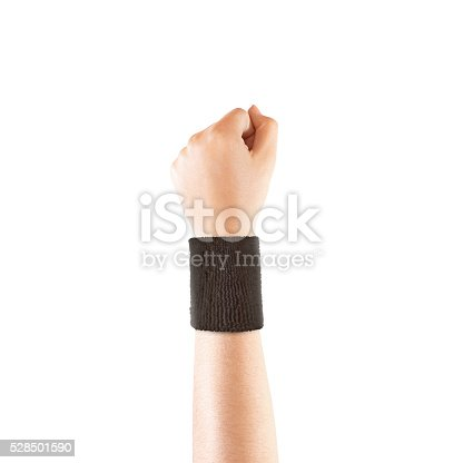 Blank black wristband mockup on hand, isolated. Clear sweat band mock up design. Sport sweatband template wear on wrist arm. Sports support protective bandage wrap. Bangle on the tennis player hand.
