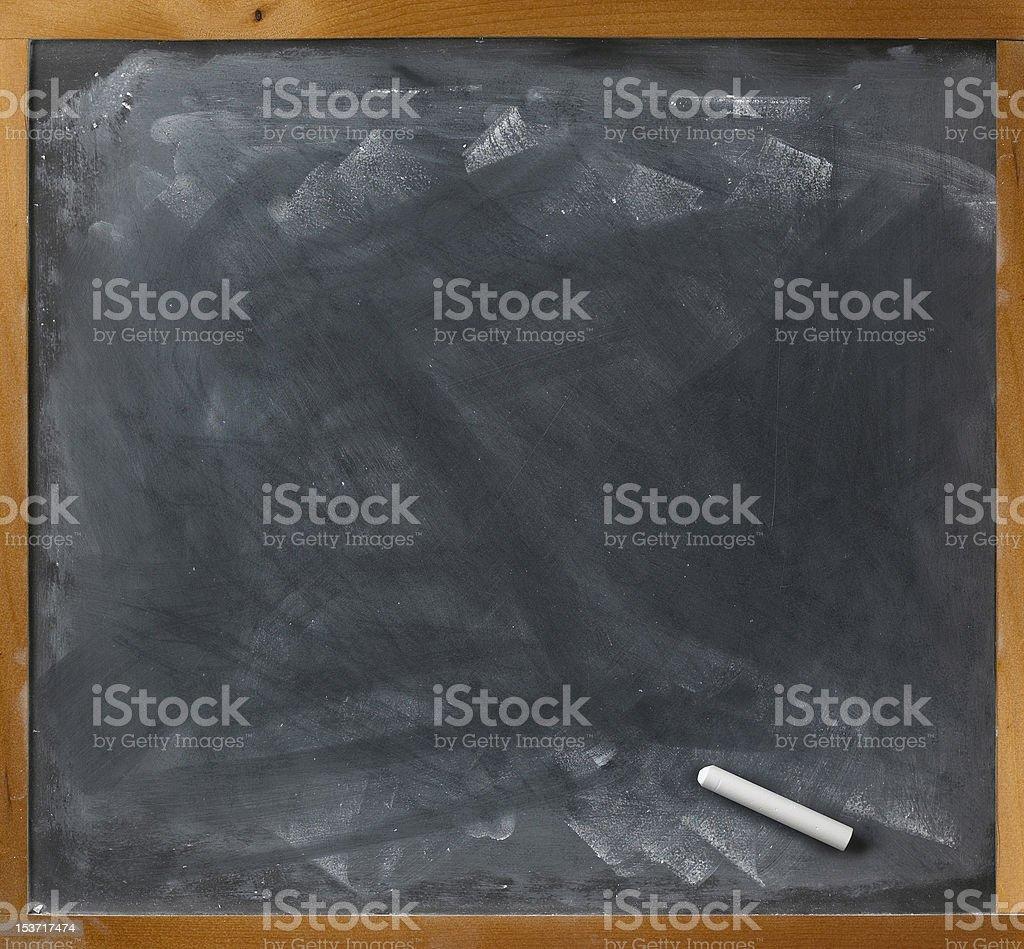 blank blackboard and chalk straight on royalty-free stock photo
