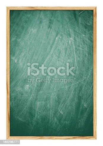 istock Blank Blackboard background (Clipping Path!) isolated on white 185296771