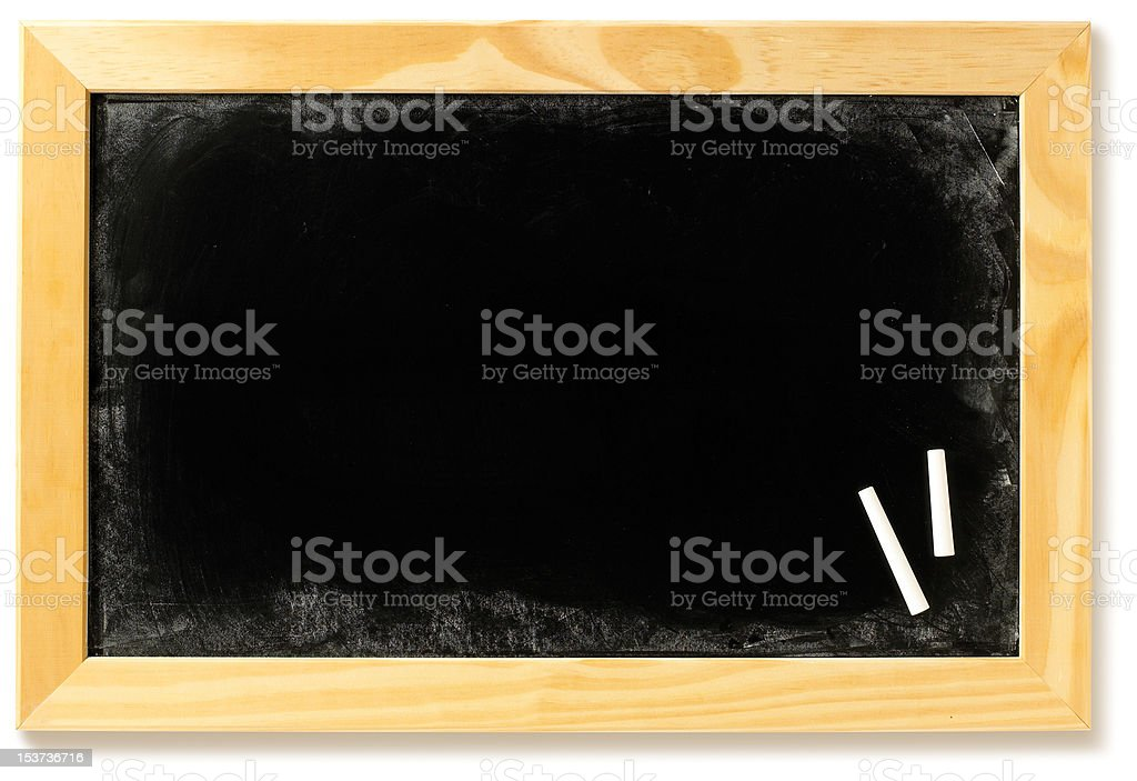 Leere Tafel in einem frame mit Kreide Lizenzfreies stock-foto