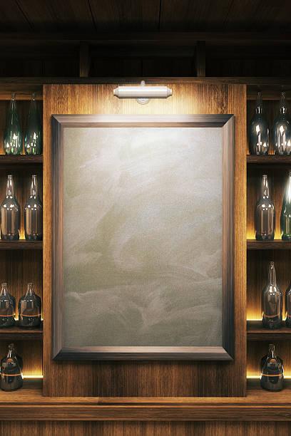 blank blackboard - bar i̇çkili mekan stok fotoğraflar ve resimler