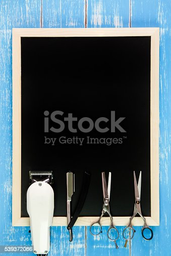 istock Blank blackboard, Scissors hairdresser and Clipper Barber 539372086