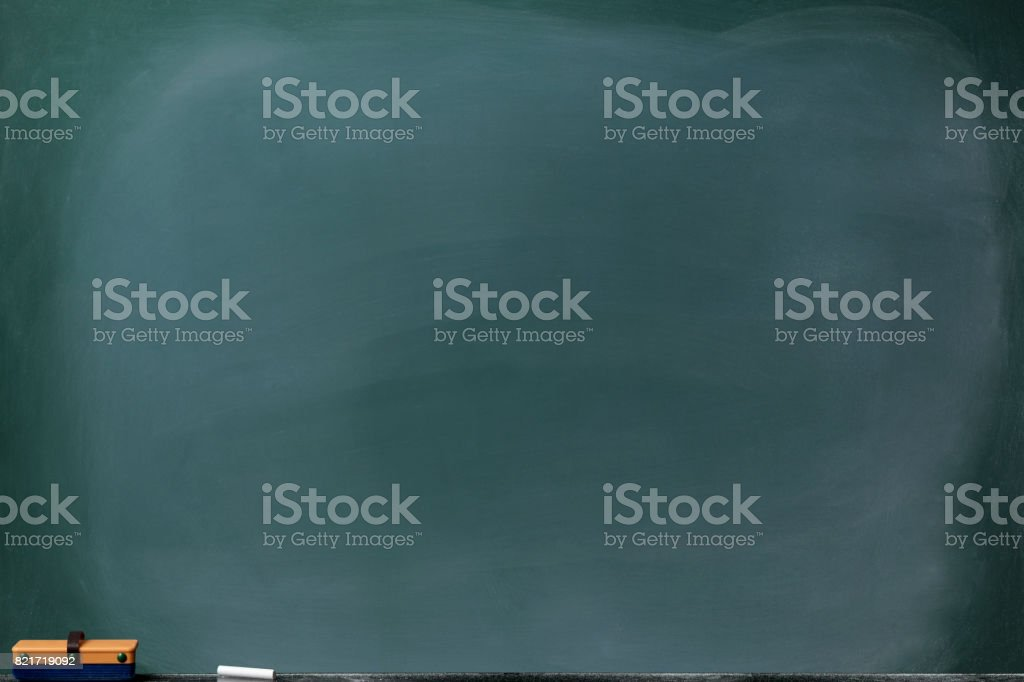 Blank blackboard with board eraser and chalk stock photo