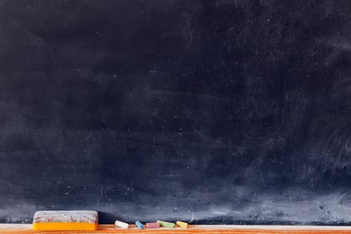 istock Blank blackboard with colored chalks 177797197