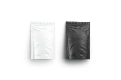 Blank blank and white zipper pouch lying mock up isolated