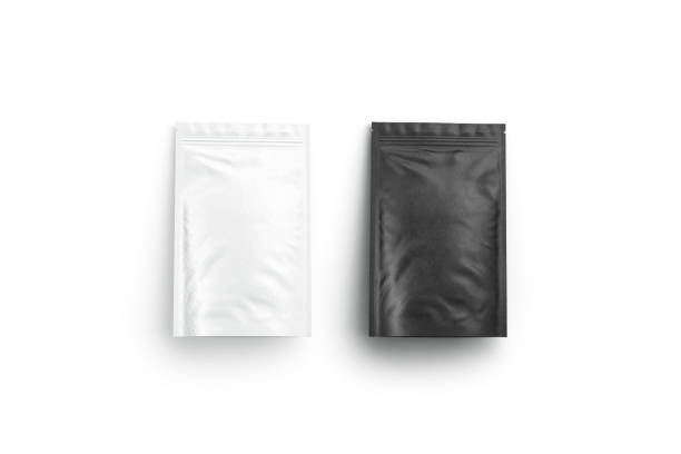blank blank and white zipper pouch lying mock up isolated - packaging foto e immagini stock