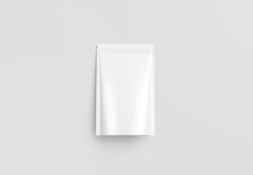 Blank blank plastic zipper pouch mockup, gray background, 3d rendering. Empty snack flex packet with zip mock up, top view. Clear canned wrapping for fresh cookie mokcup template.