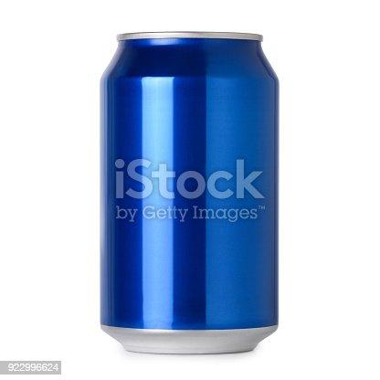 istock Blank blue aluminum drink can 922996624