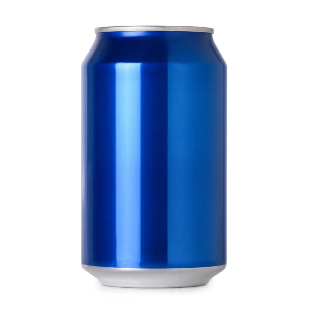 Blank blue aluminum drink can