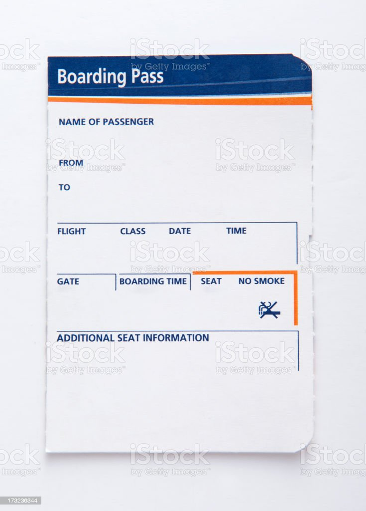 Blank blue and orange boarding pass stock photo