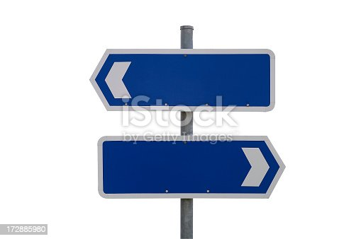 istock Blank blue and white signs pointing in different directions 172885980