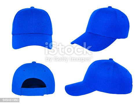 blank blue baseball cap 4 view on white background