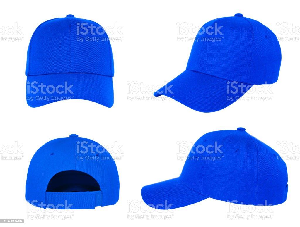 blank blue baseball cap 4 view stock photo