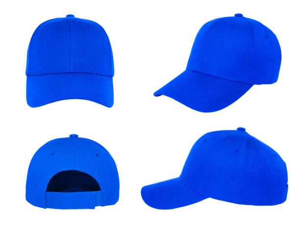 blank blue baseball cap 4 view blank blue baseball cap 4 view on white background baseball cap stock pictures, royalty-free photos & images