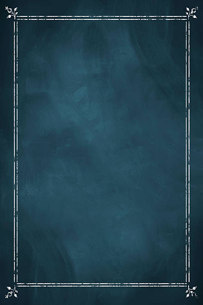 Blank blue chalkboard menu stock photo