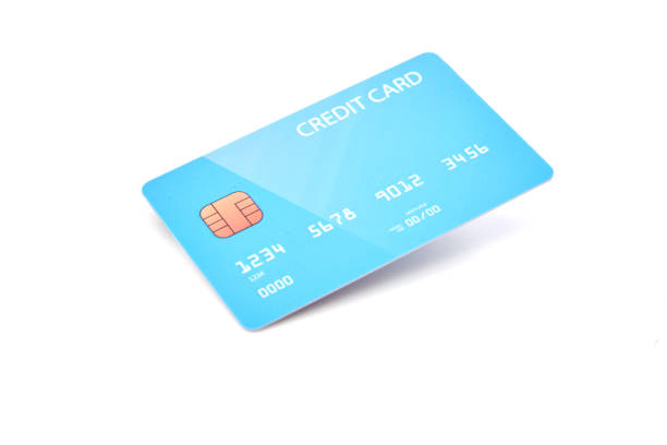 Cтоковое фото Blank blue credit card isolated on white background
