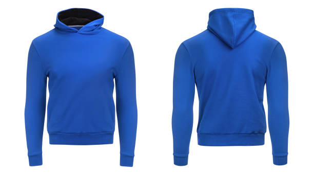 Blank blue male hoodie sweatshirt  with clipping path, mens pullover for your design mockup and template for print, isolated white background. stock photo