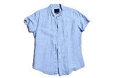 Blank blue men's short sleeve summer shirt, front, isolated on white background, creased wrinkle striped. Regular fit.