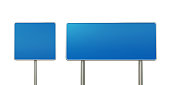 Blank blue off road signs isolated on white background. Horizontal composition with clipping path and copy space.