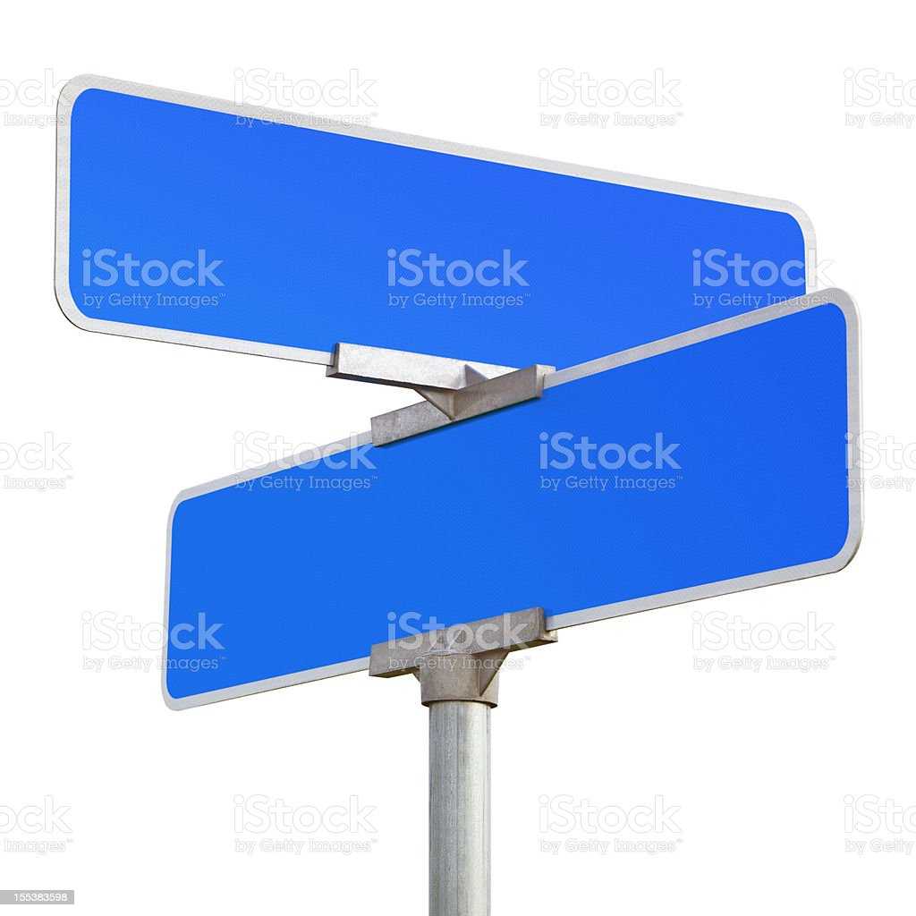Blank Blue Road Sign Isolated on White stock photo