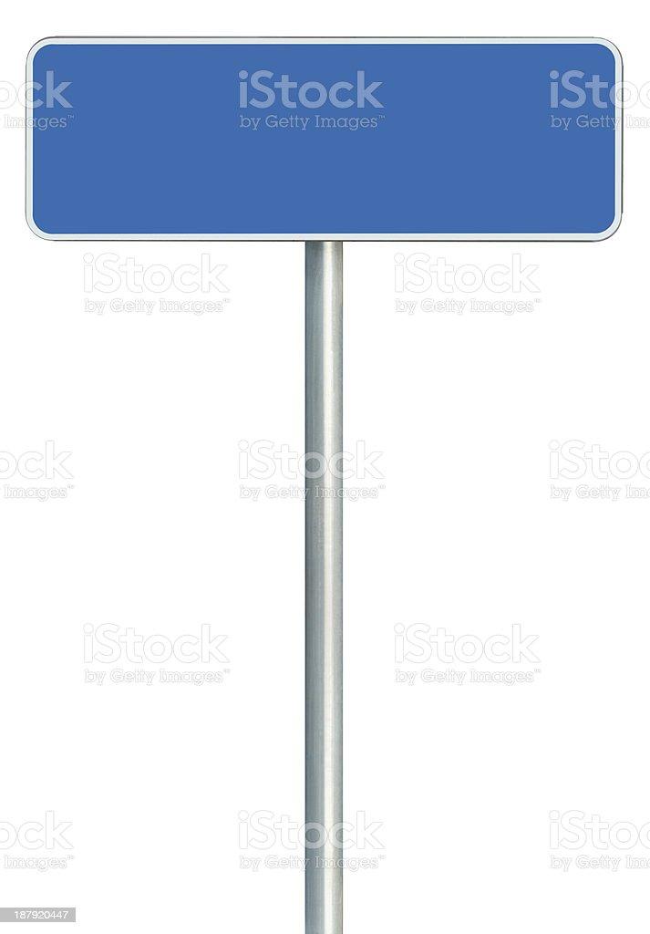 Blank Blue Road Sign Isolated, White Frame Framed Roadside Signage stock photo
