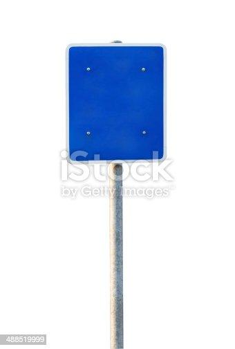 186103814istockphoto Blank Blue Road Sign 488519999